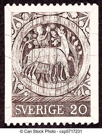 Clipart von schwedische, porto, Tür, hölzern, ST, annulliert.