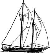 Clip Art of , boat, sailboat, sailing, schooner, sport, ocean.