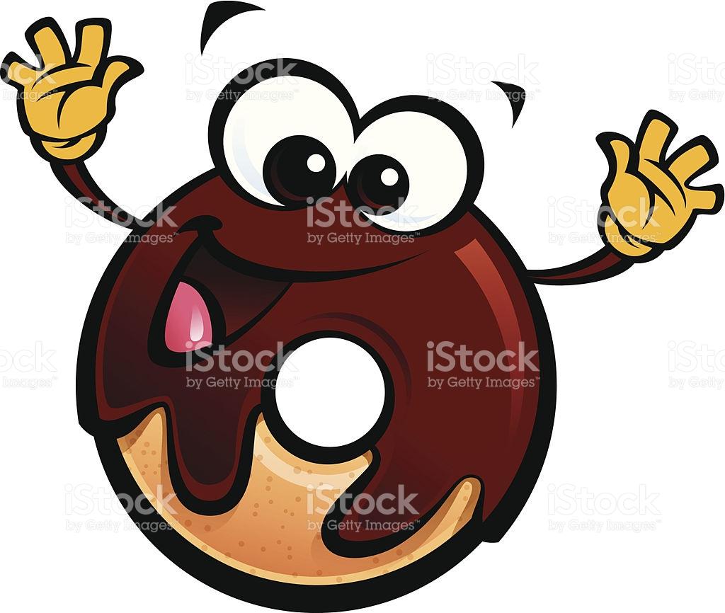 Cartoon Funny Schokoguss Donut Charakter Eine Geste Vektor.