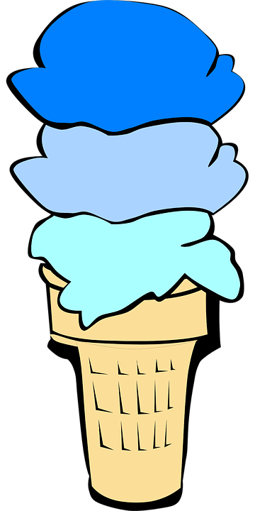 免费矢量图: 锥, 冰淇淋, 冰, 蓝色, 甜点, 甜, 食品, 冷, 美味, 夏天.