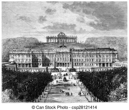 Clipart of Schonbrunn Palace, vintage engraving..