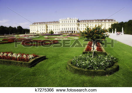 Stock Images of Gardens and Flowers inside Schonbrunn Castle.