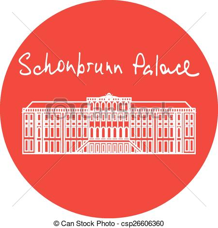 Clip Art Vector of Vienna Schonbrunn Palace vector red circle icon.