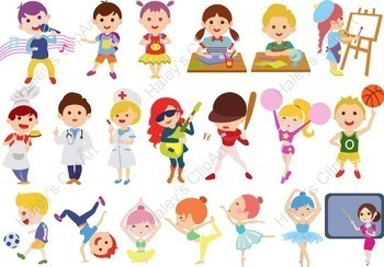 Students and Kids\' Activities at school (Clip Art).
