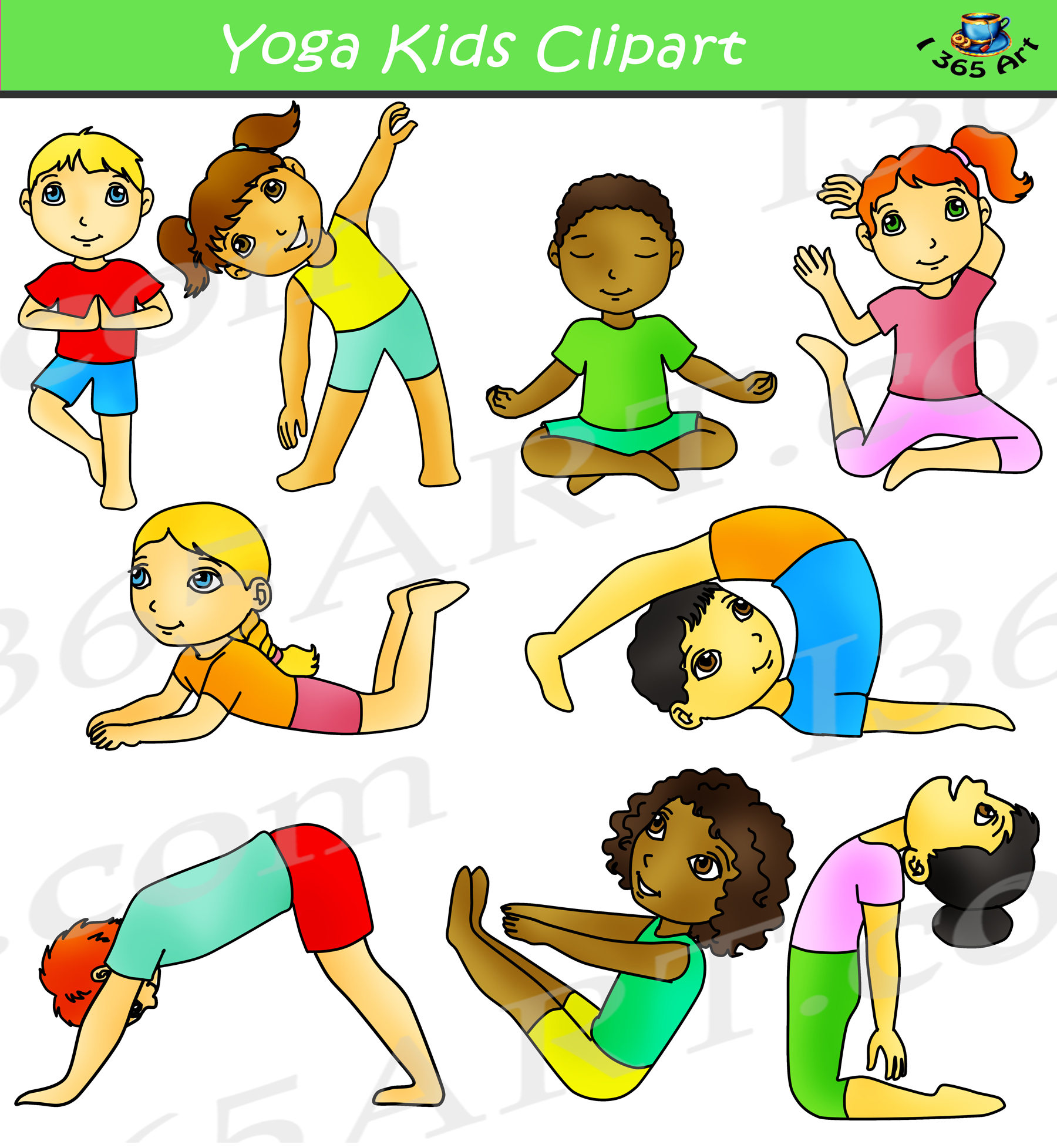 Kids Yoga Clipart Activity Set.