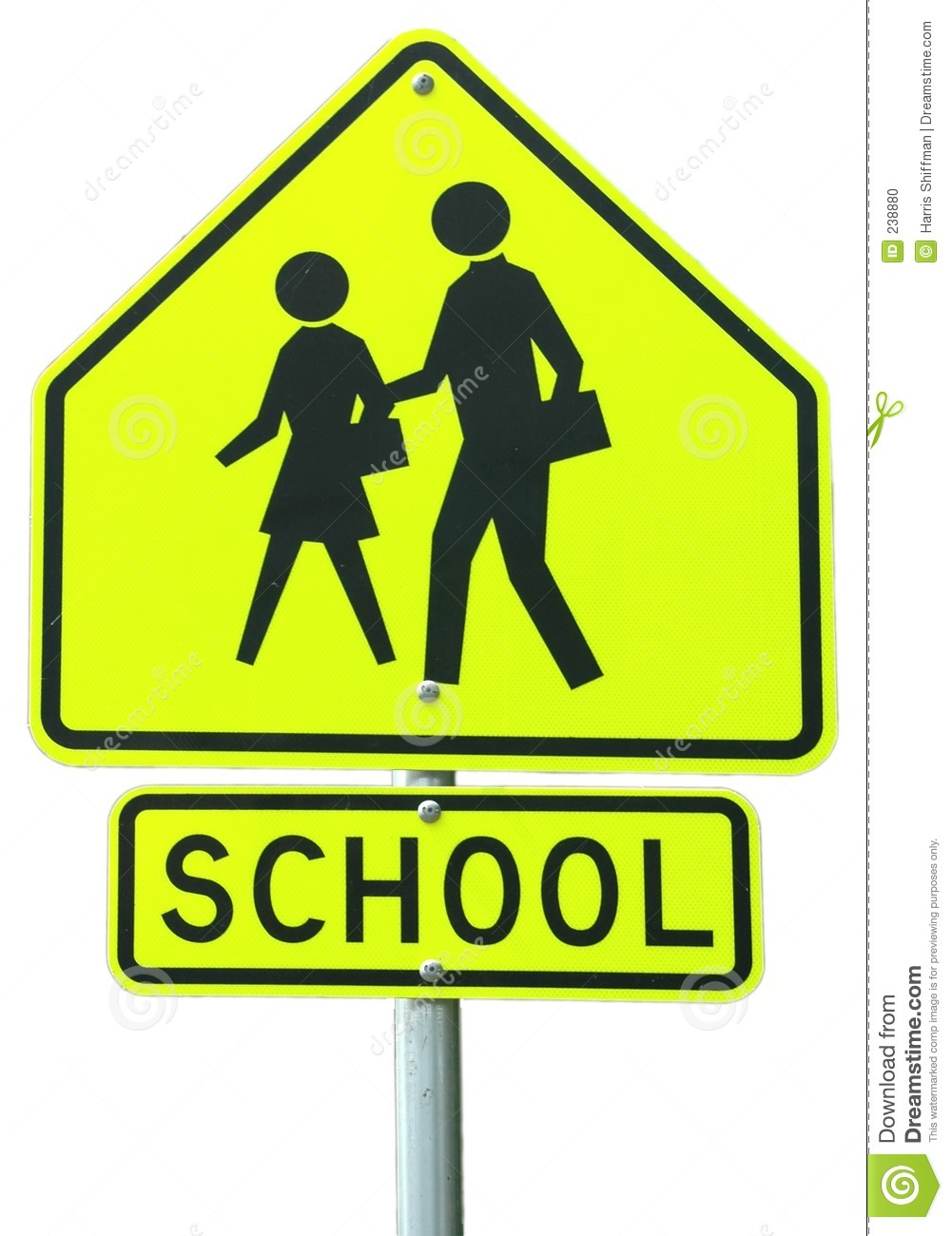 School Ahead Stock Photo.