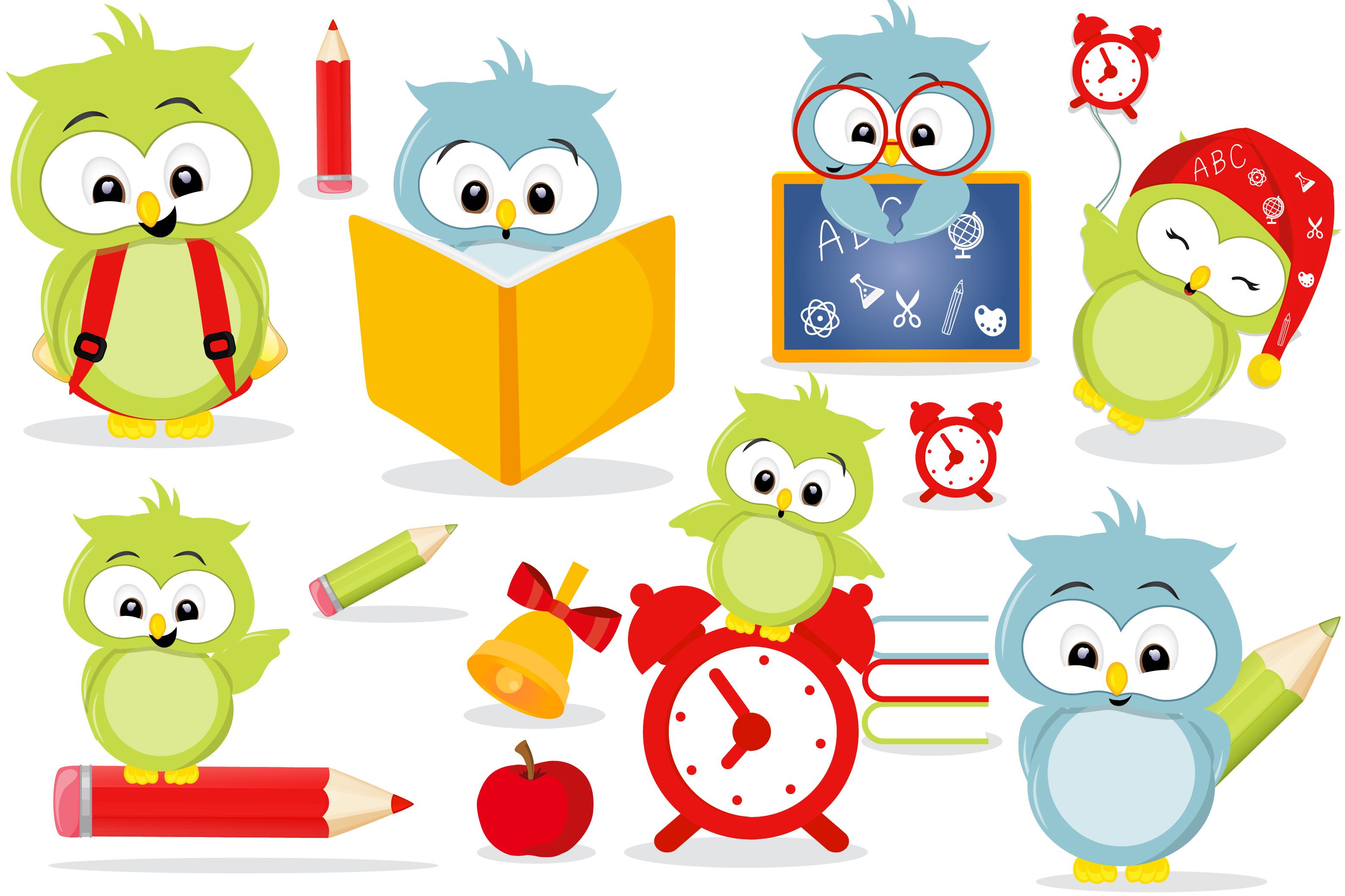 Owls in school clipart, Owls in school graphics.