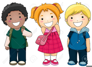 Children Arriving School Clipart.