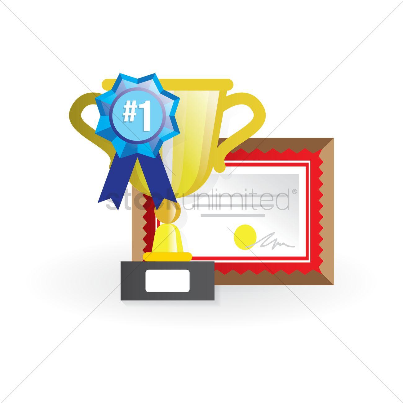 School award trophy and certificate Vector Image.