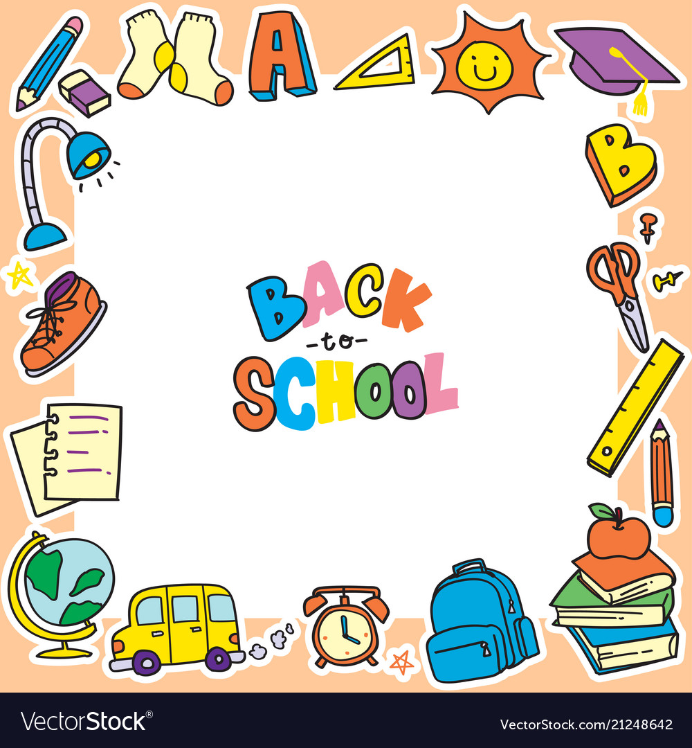 Back to school doodle background clip art frame.