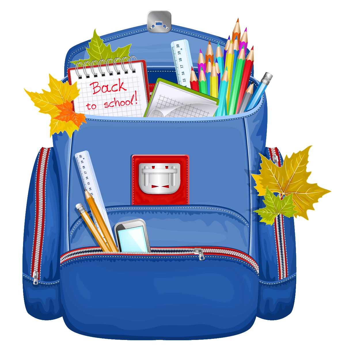 Blue School Backpack PNG Clipart.