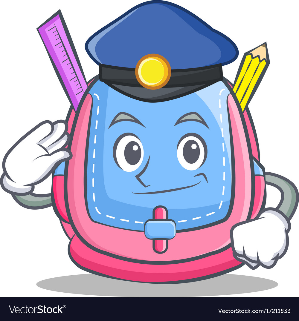 Police school bag character cartoon.
