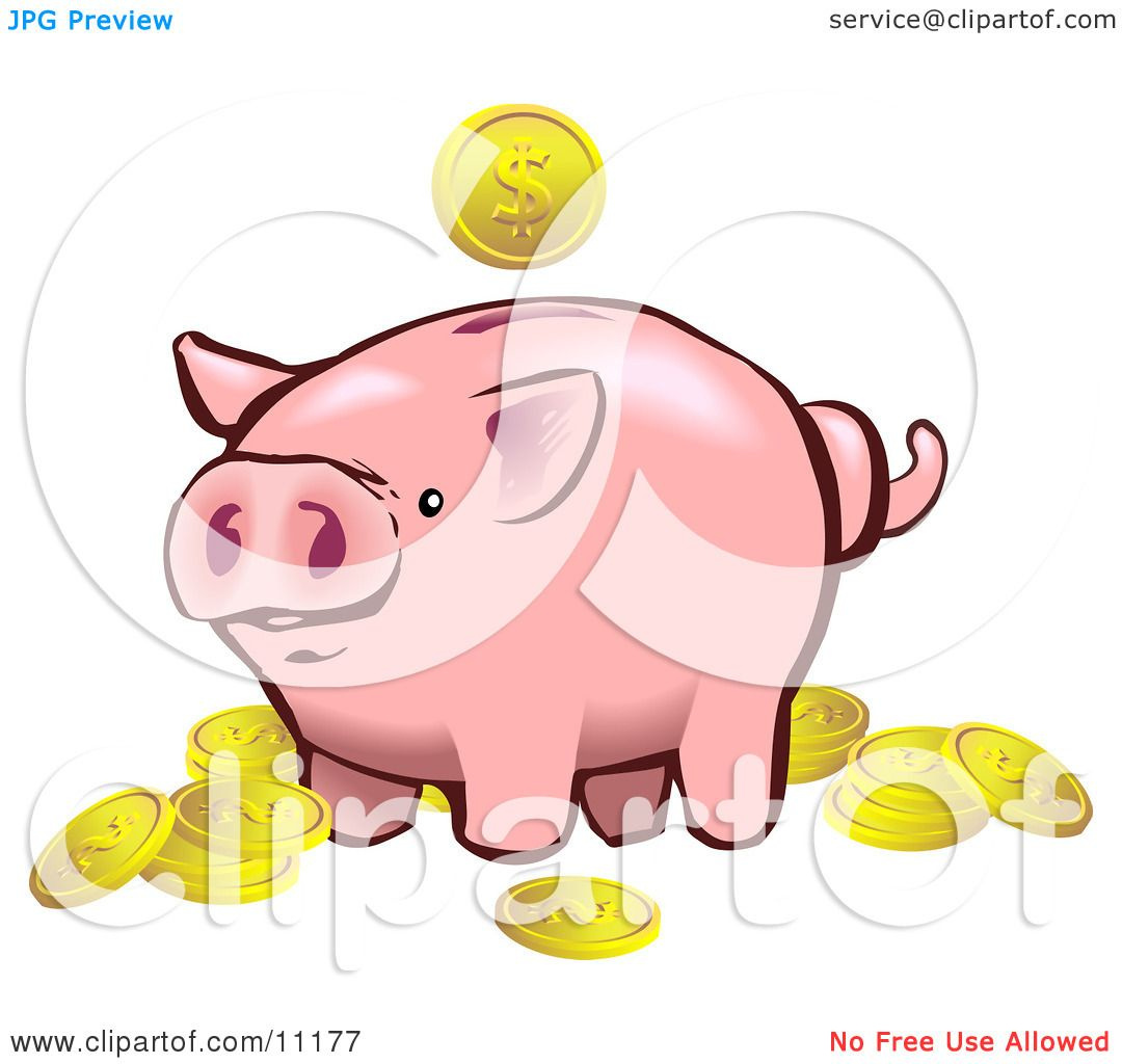 Pink Piggy Bank Surrounded by Golden Coins Clipart Illustration by.