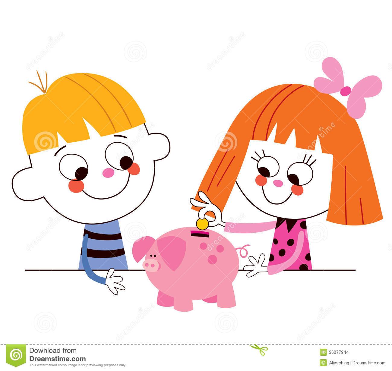 Piggy bank clipart kids saving.