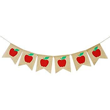 Apples Banner Burlap.