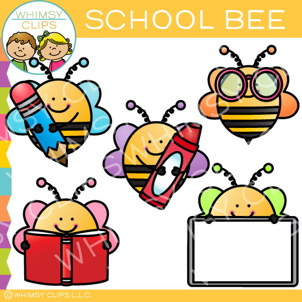 Free School Bee Clip Art , Images & Illustrations.