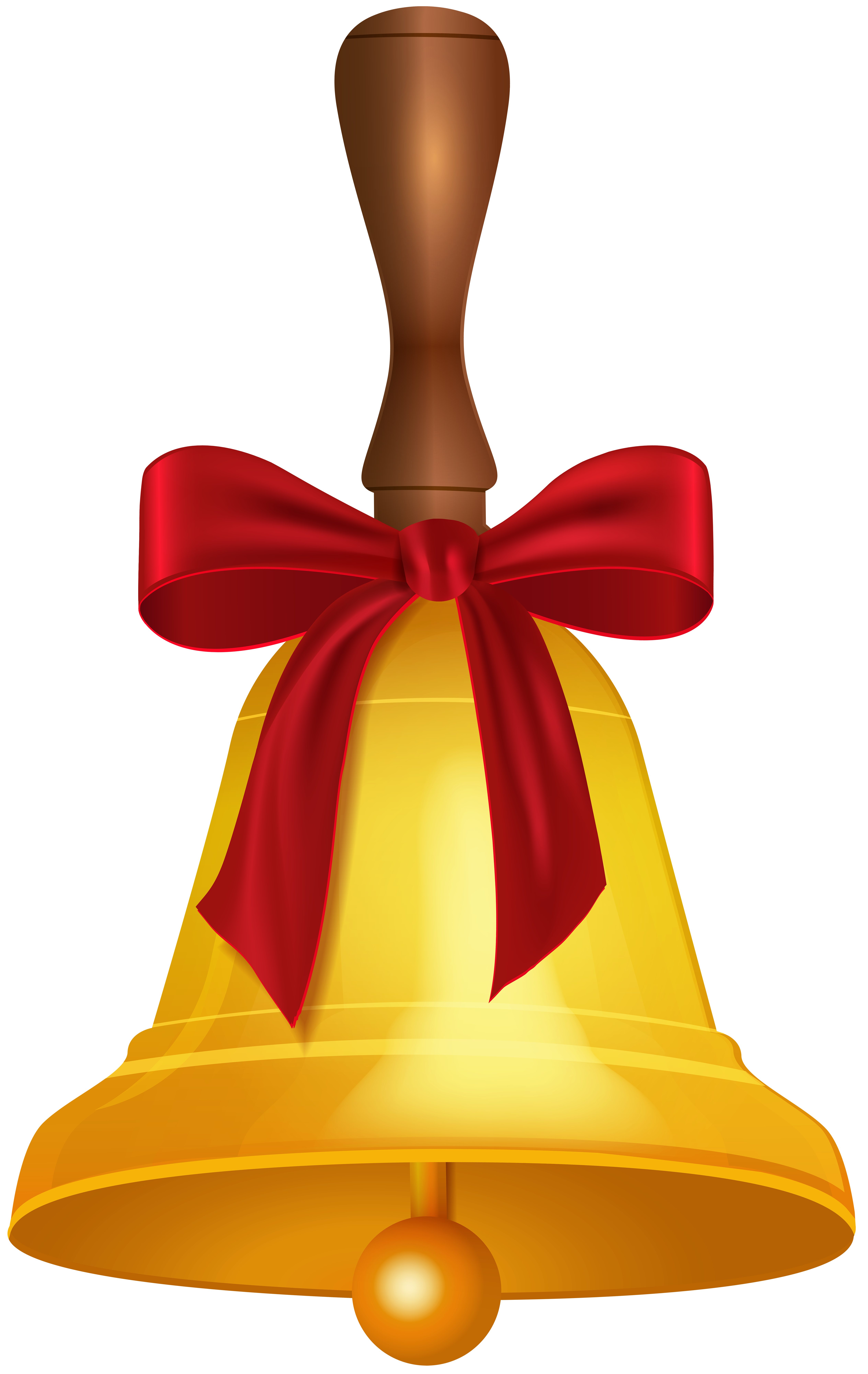Gold School Bell PNG Clip Art Image.