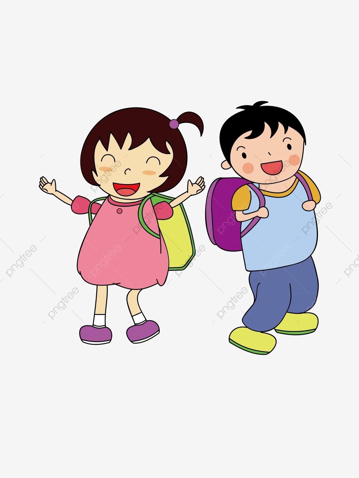 School Boy Girl Pupil Schooling Cartoon Element, Starting.