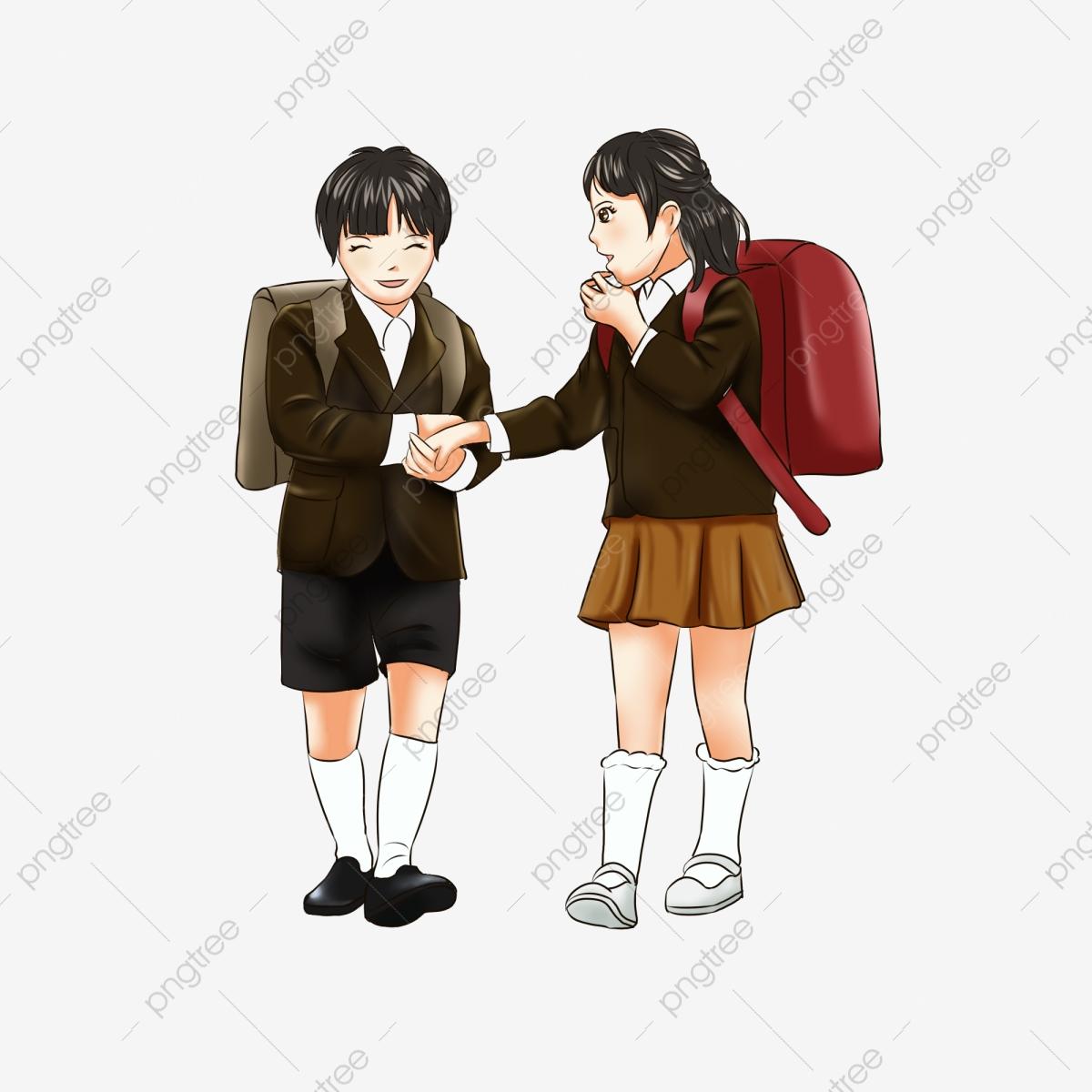 School Boys And Girls Schoolbag Cartoon Creative Image.