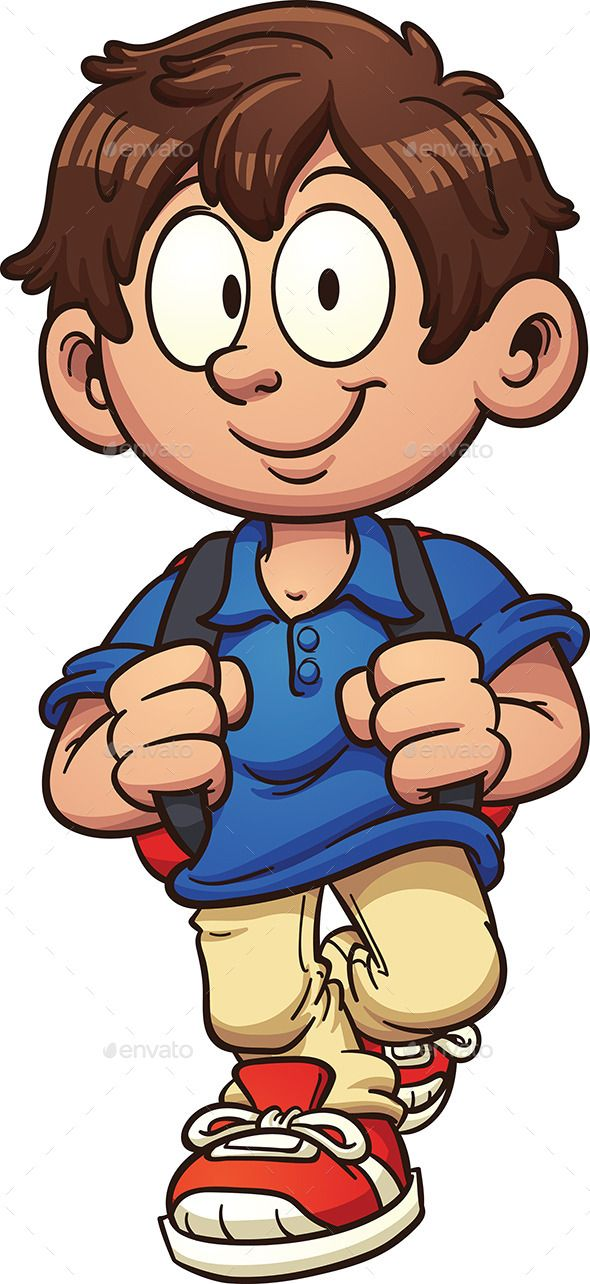 Cartoon school boy walking. Vector clip art illustration.