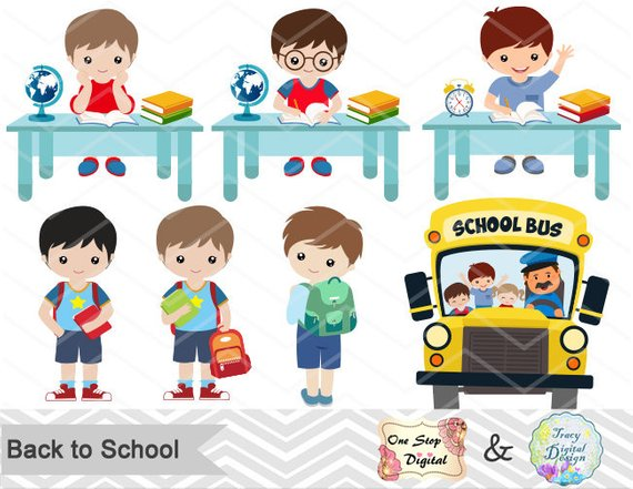 Instant Download Back to School Clip Art, School Day Clipart.