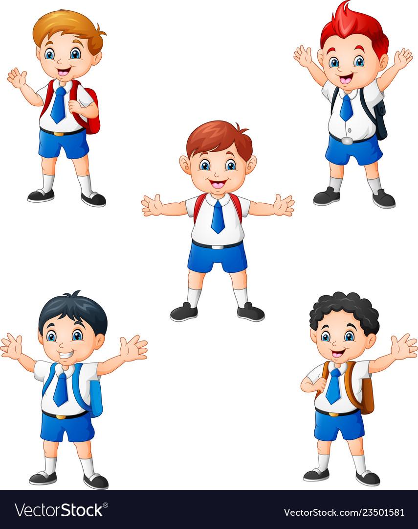 Happy school boys in different posing.
