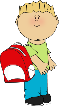 Boy wearing a backpack from MyCuteGraphics.