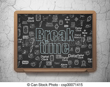 Clipart of Time concept: Break Time on School Board background.