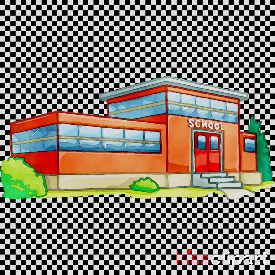 School Building Cartoon clipart.