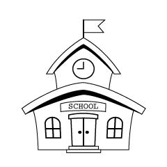 Free Black and White School Building Image|Illustoon.