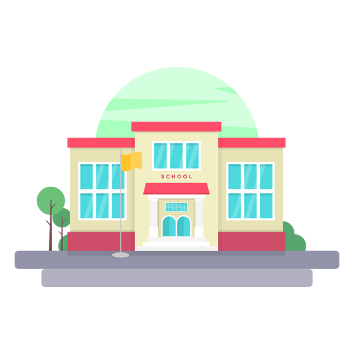 Elementary school building illustration.