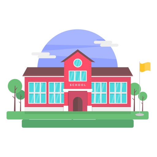 Classical school building illustration.