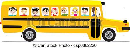 Vector Clipart of school bus and children.