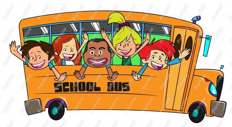 Children On School Bus Clipart.