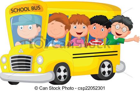 Vector Clipart of School bus with happy children.