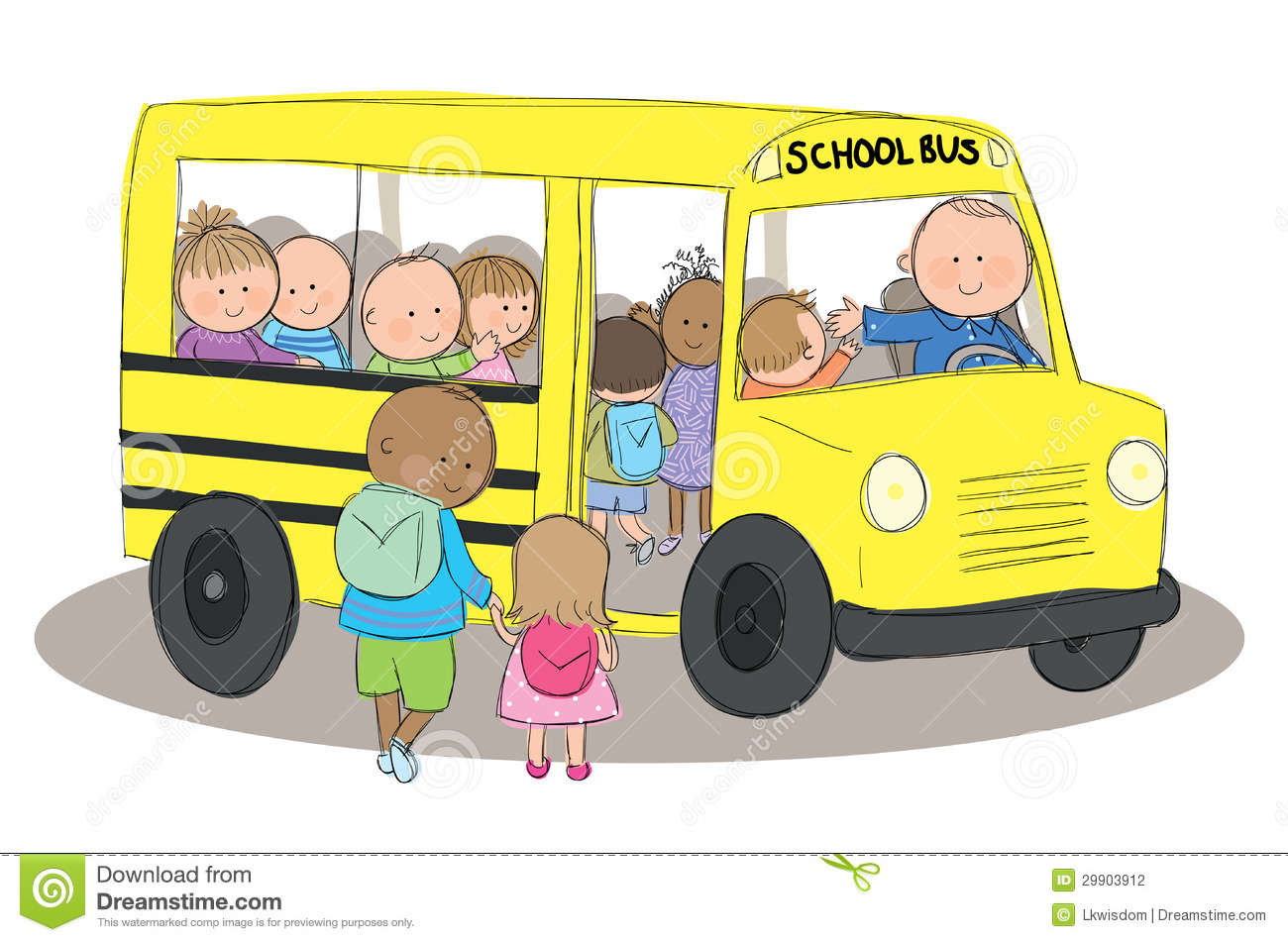 School Bus And Children Clipart.