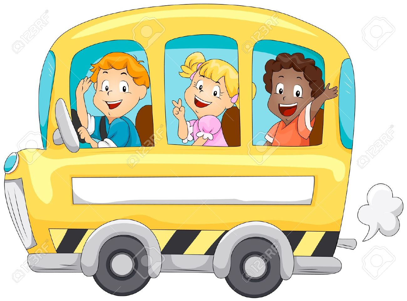 Frog On School Bus Clipart.