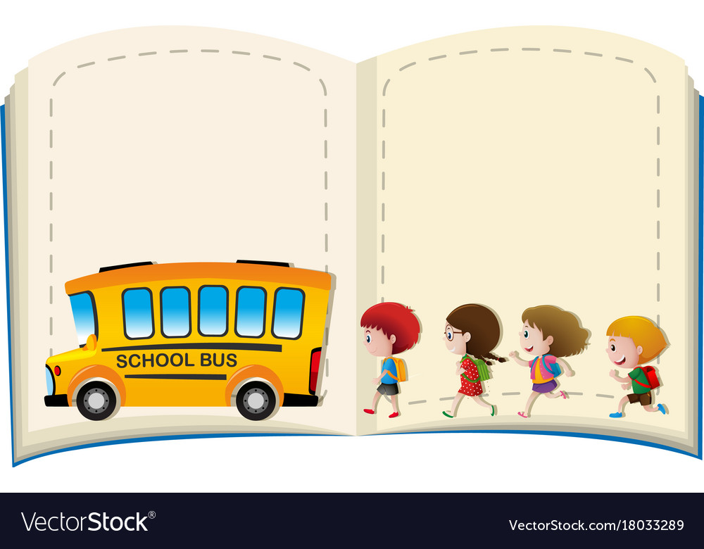 Border template with kids and schoolbus.