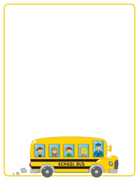 School bus page border. Free downloads at http://pageborders.org.