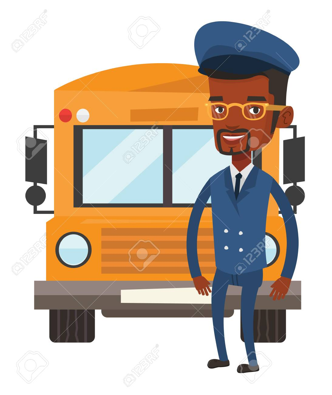 School bus driver vector illustration. » Clipart Station.