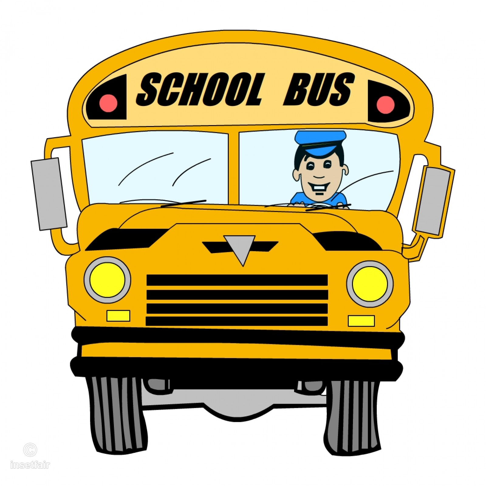 Cartoon school bus with driver clipart png image.