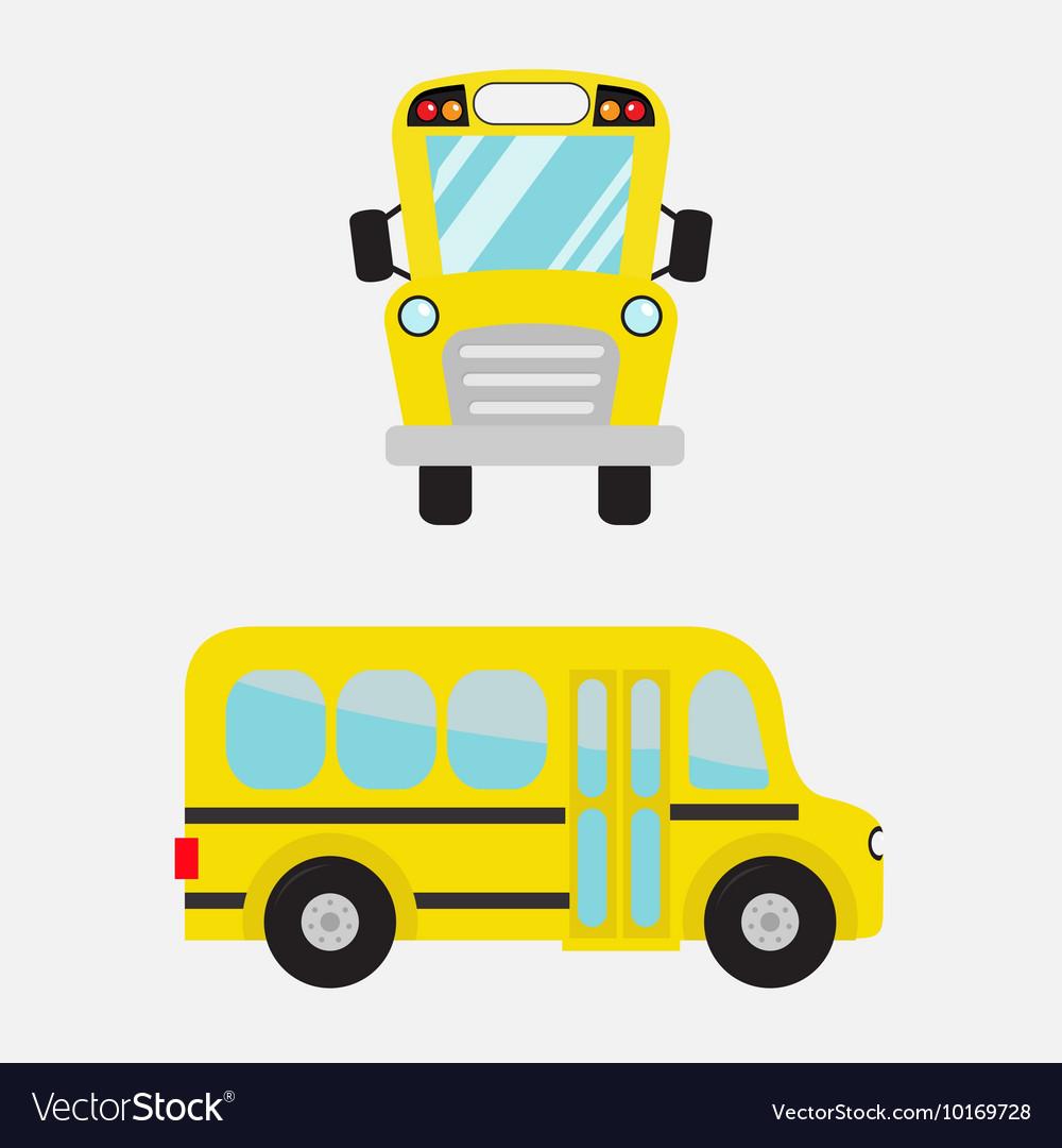 Yellow school bus set Cartoon clipart.