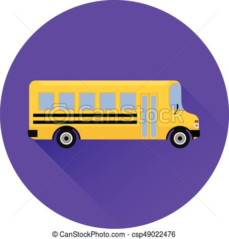 Flat icon yellow school bus. Vector graphic..