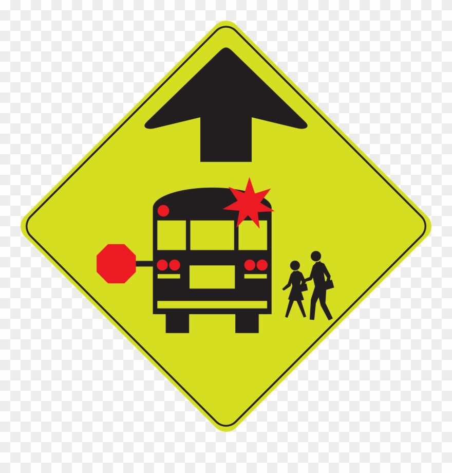 School Bus Stop Ahead Sign Clipart (#387253).