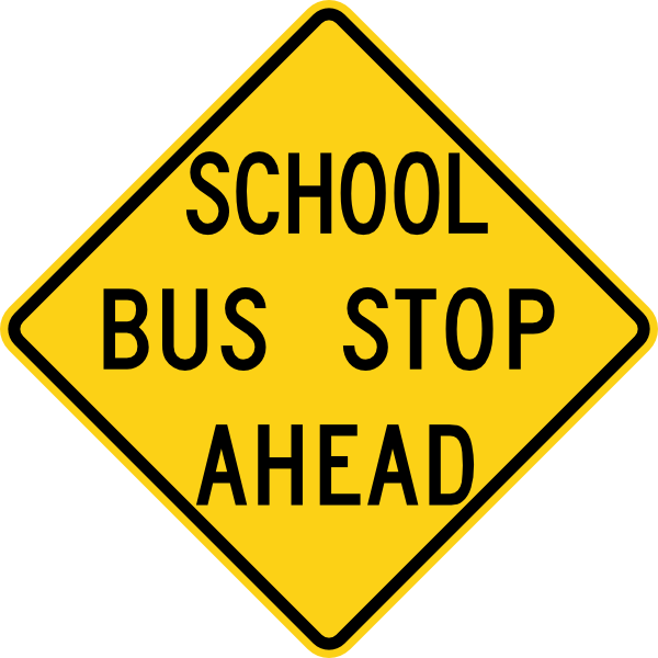 School Bus Stop Ahead Sign At Clkercom Vector clipart free image.
