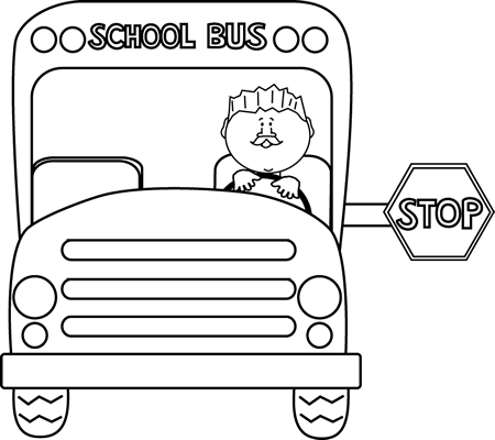 Black and White Stopped School Bus Clip Art.