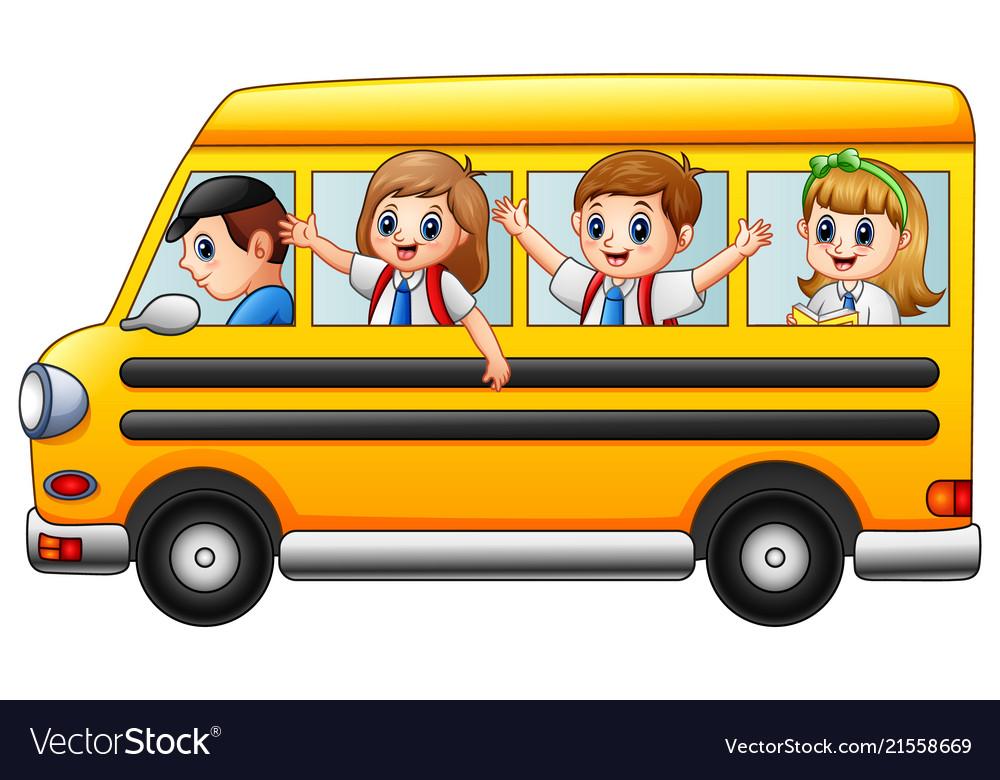 Happy school kids riding a school bus.