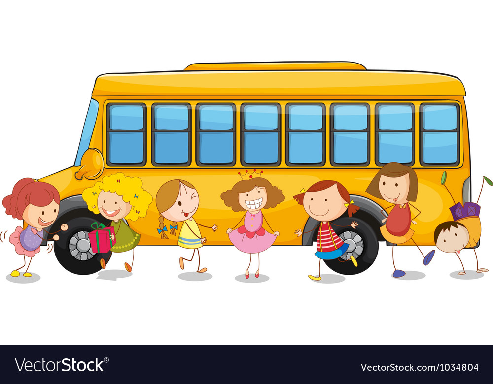 Kids and school bus.