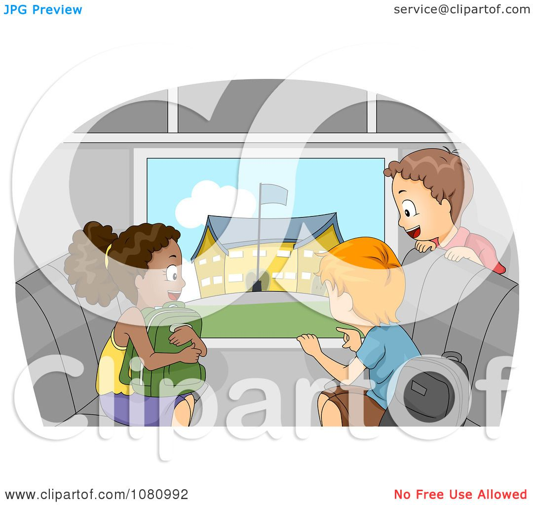 Clipart Kids Viewing A School From A Bus Window.