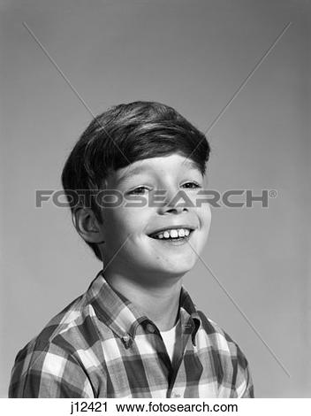 Stock Photography of 1960S Portrait Smiling Boy Wearing Plaid.